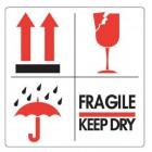 Etiket Pijlen, Paraplu, Glas, Fragile/Keep dry